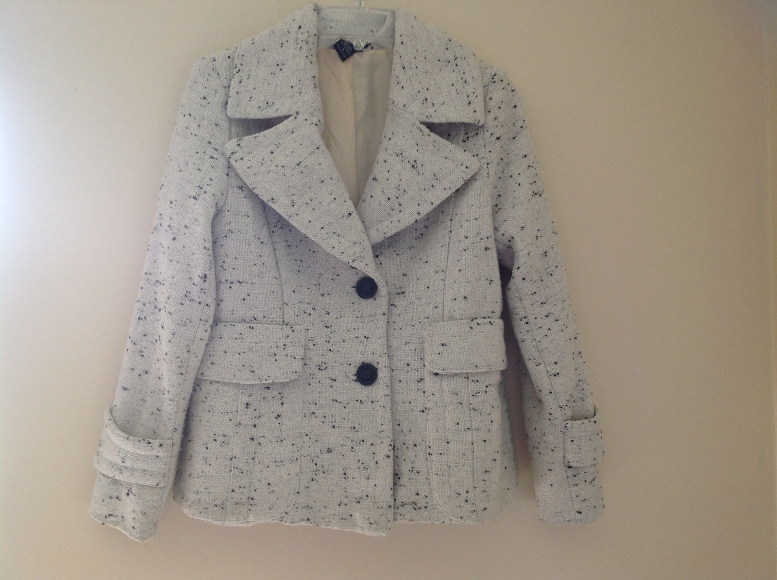 Robert Louis White Black Speckled Double Button Light Winter Peacoat Size S
