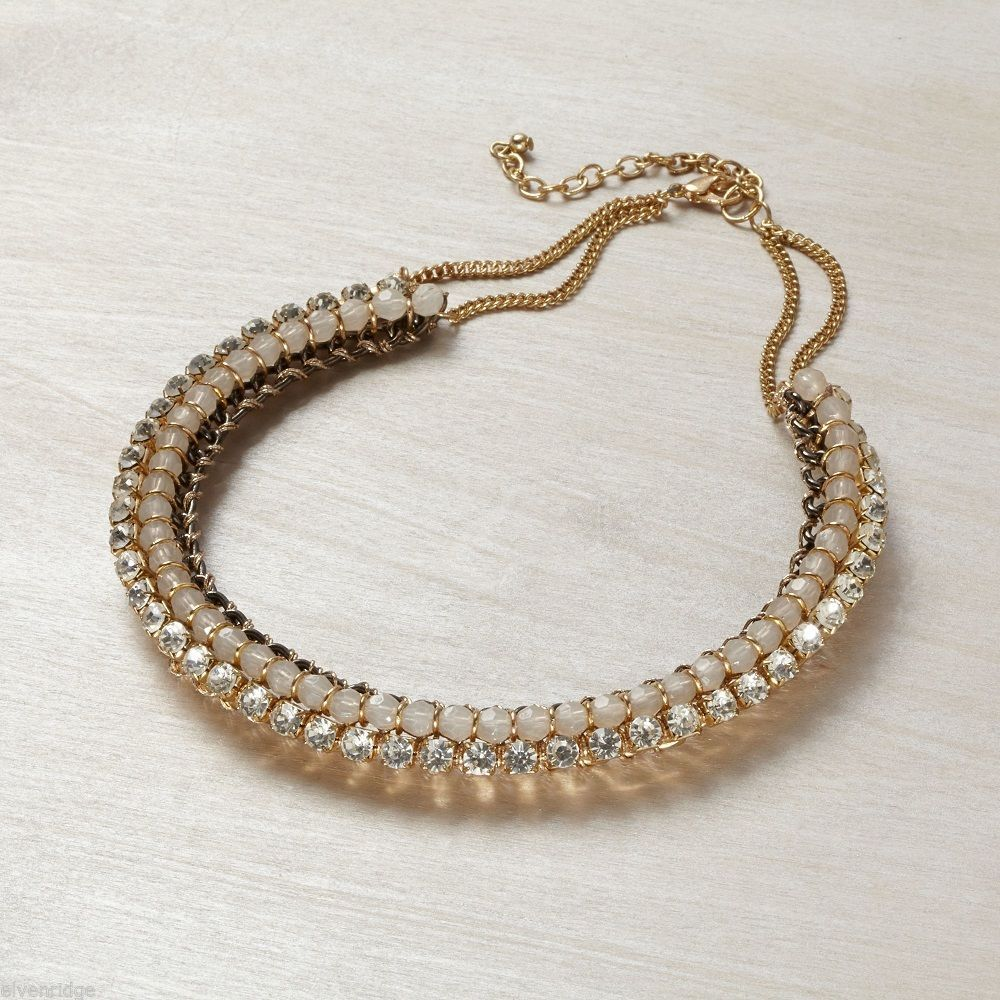 Rose Gold tone and Crystal accent collar necklace