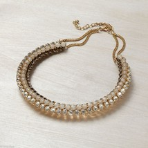 Rose Gold tone and Crystal accent collar necklace image 1