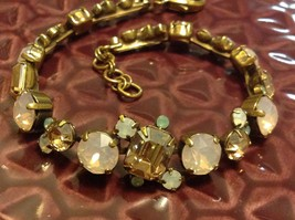 Rose Water w pink opaque crystals Station Vintage Inspired Sorrelli Bracelet