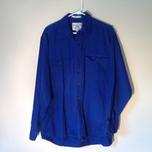 Royal Blue Button Down Long Sleeve Collar Shirt John Ashford Sport Size Large