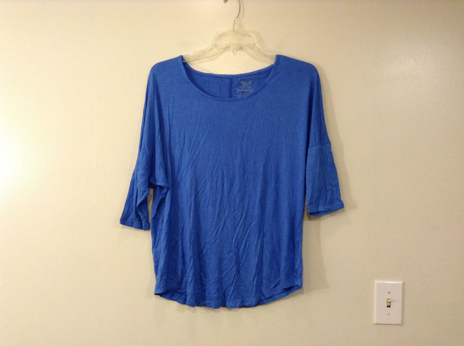 Royal Blue Faded Glory Deep Scoop Neck Top Size Large 12 to 14