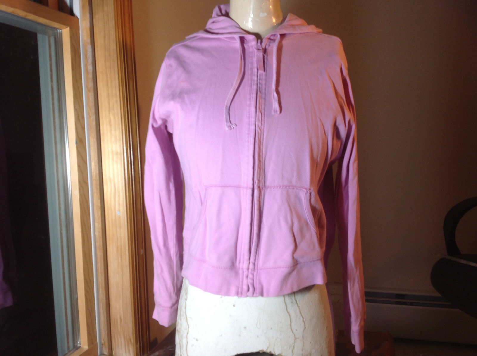 Route 66 Pink Long Sleeve Zip Up Jacket with Hood Front Pocket at Bottom Size L