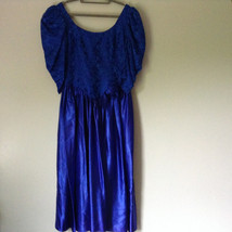 Royal Blue Vintage Ball Gown Dress Laced on Top Bow Zipper on Back