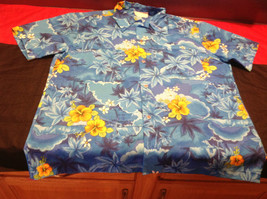 Royal Hawaiian Mens Short Sleeve Casual Shirt Blue/Green/Orange Size 26W