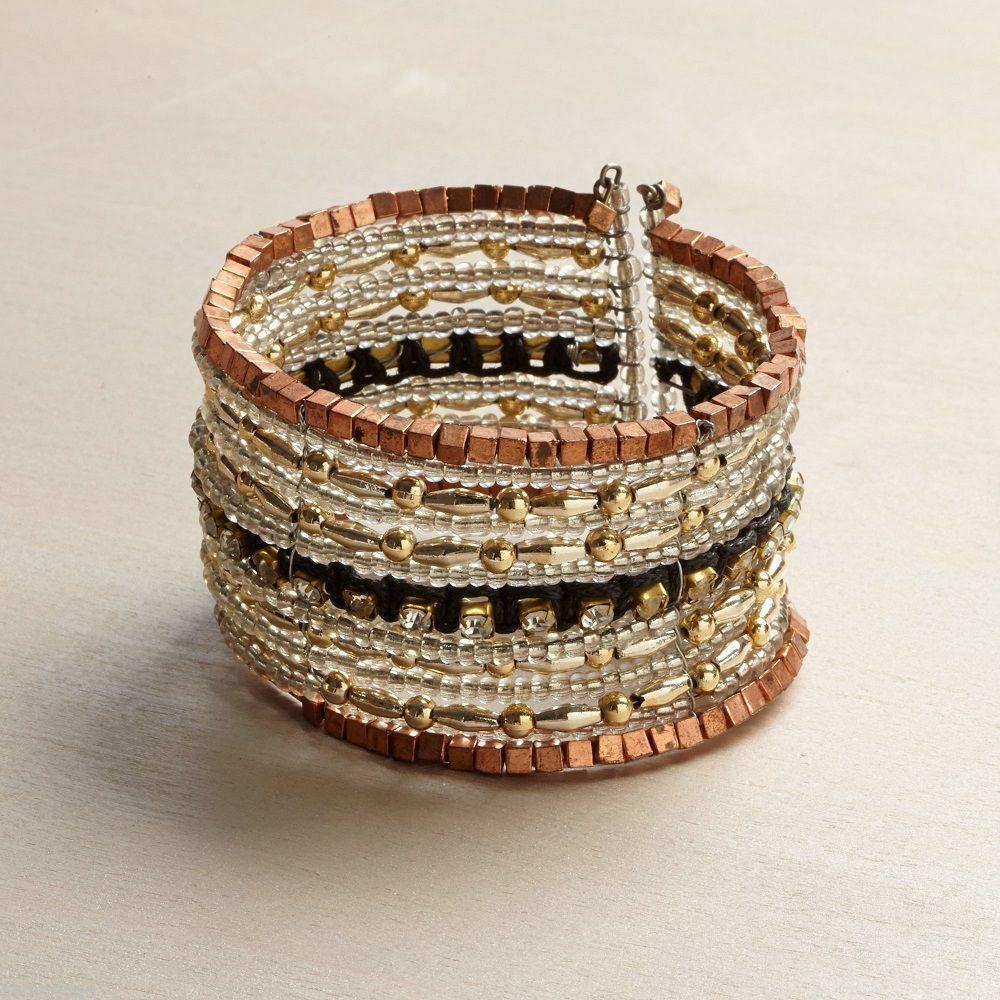 Rose gold and copper square bead multi strand statement bracelet