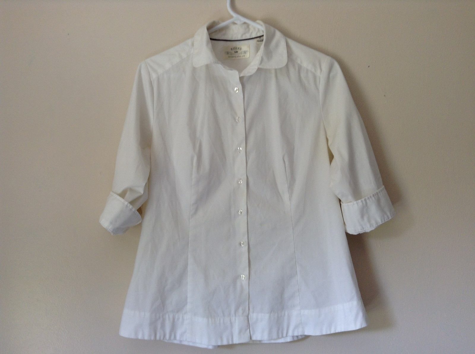 Riders by Lee White Button Down Shirt Collar Instantly Slims You Size Medium