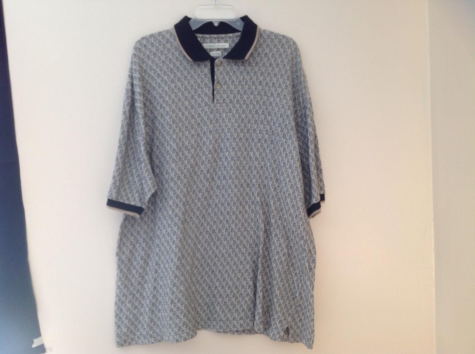 Robert Stock Black Tan Patterned Button Up Polo Short Sleeve Shirt Size XL