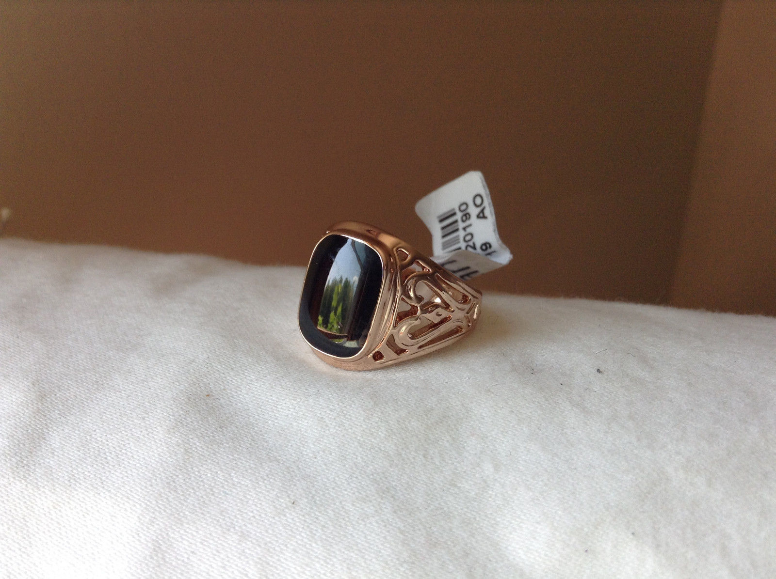 Rose Gold Tone Black Rectangular Stone Heart Swirl Ring Size 8.75 and 10.25