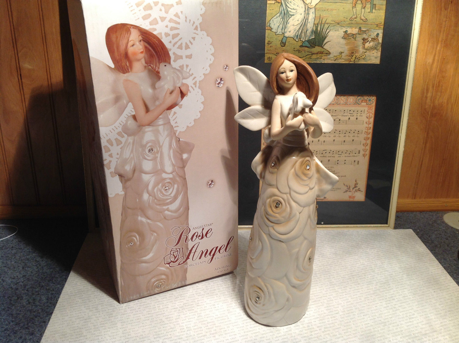 Rose Angel Porcelain Figurine Angel Holding Bunny Rabbit by Angel Star with Box