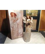 Rose Angel Porcelain Figurine Angel Holding Bunny Rabbit by Angel Star w... - $44.54