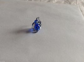 Micro Miniature small hand blown glass made USA NIB dark blue and clear elephant image 4