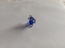 Micro Miniature small hand blown glass made USA NIB dark blue and clear elephant image 2