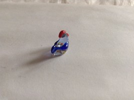Micro Miniature small hand blown glass made USA NIB cute blue multicolored hen image 2