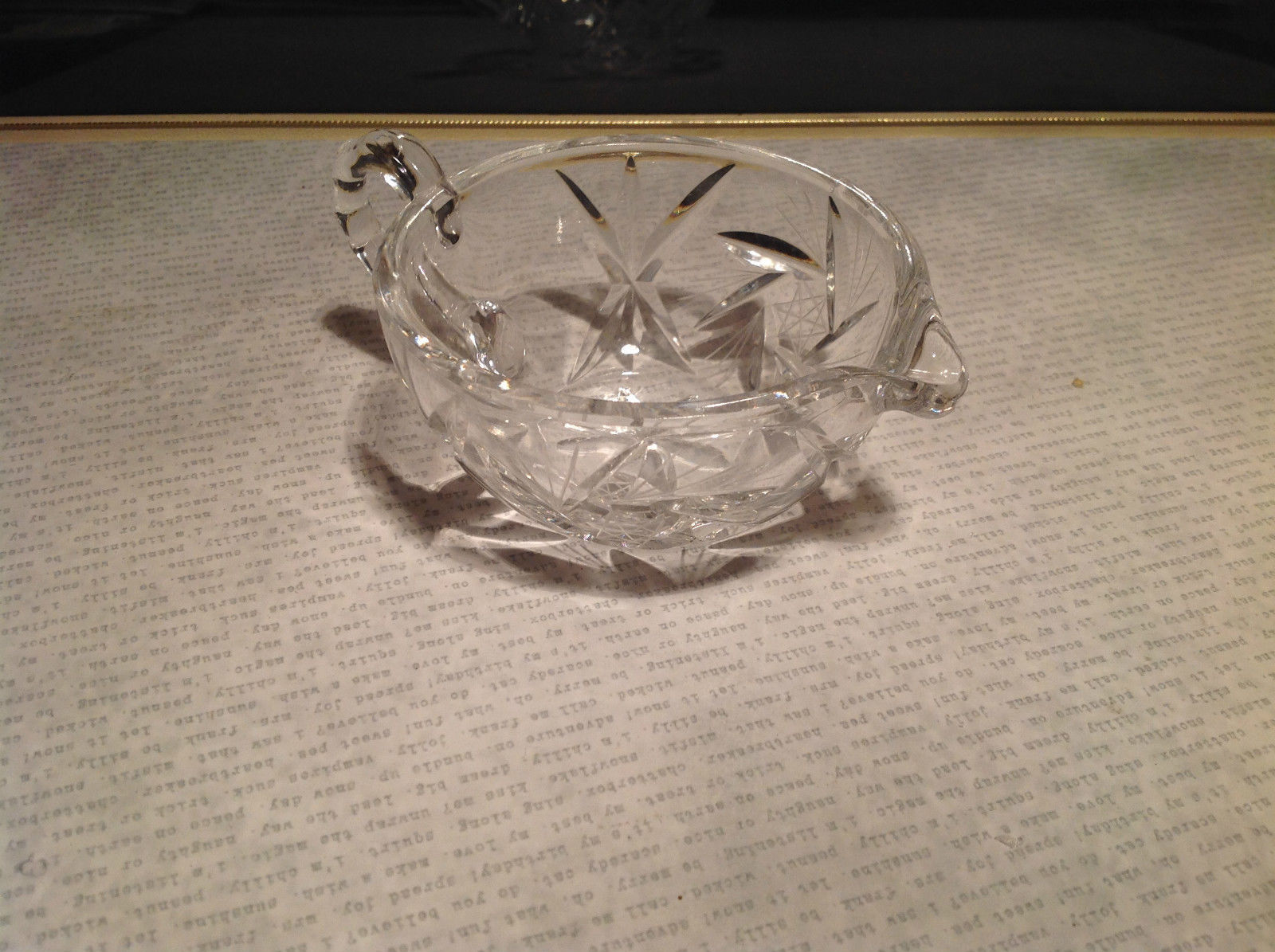 Round Small Crystal Etched Creamer