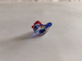 Micro Miniature small hand blown glass made USA NIB cute blue multicolored hen image 3