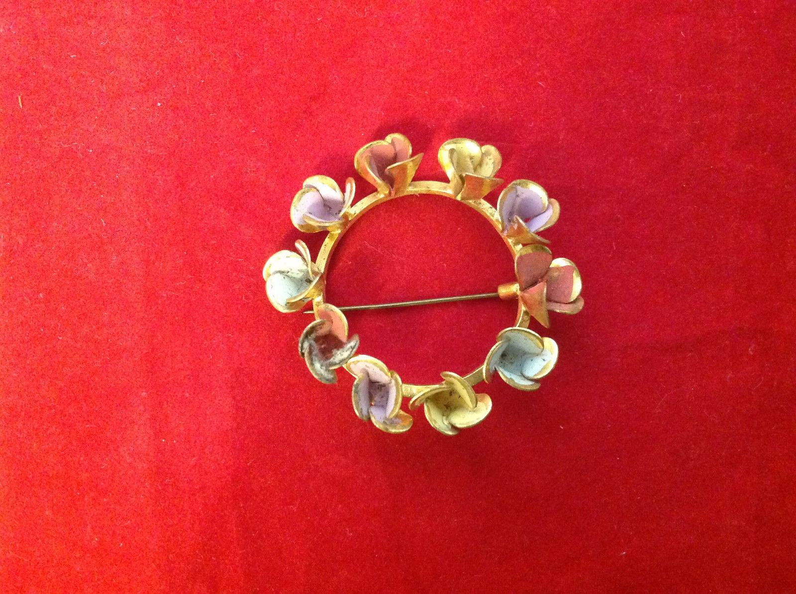 """Round Gold Ring w Colorful Pastel Flowers Floral Brooch Pin 3"""" Diameter"""