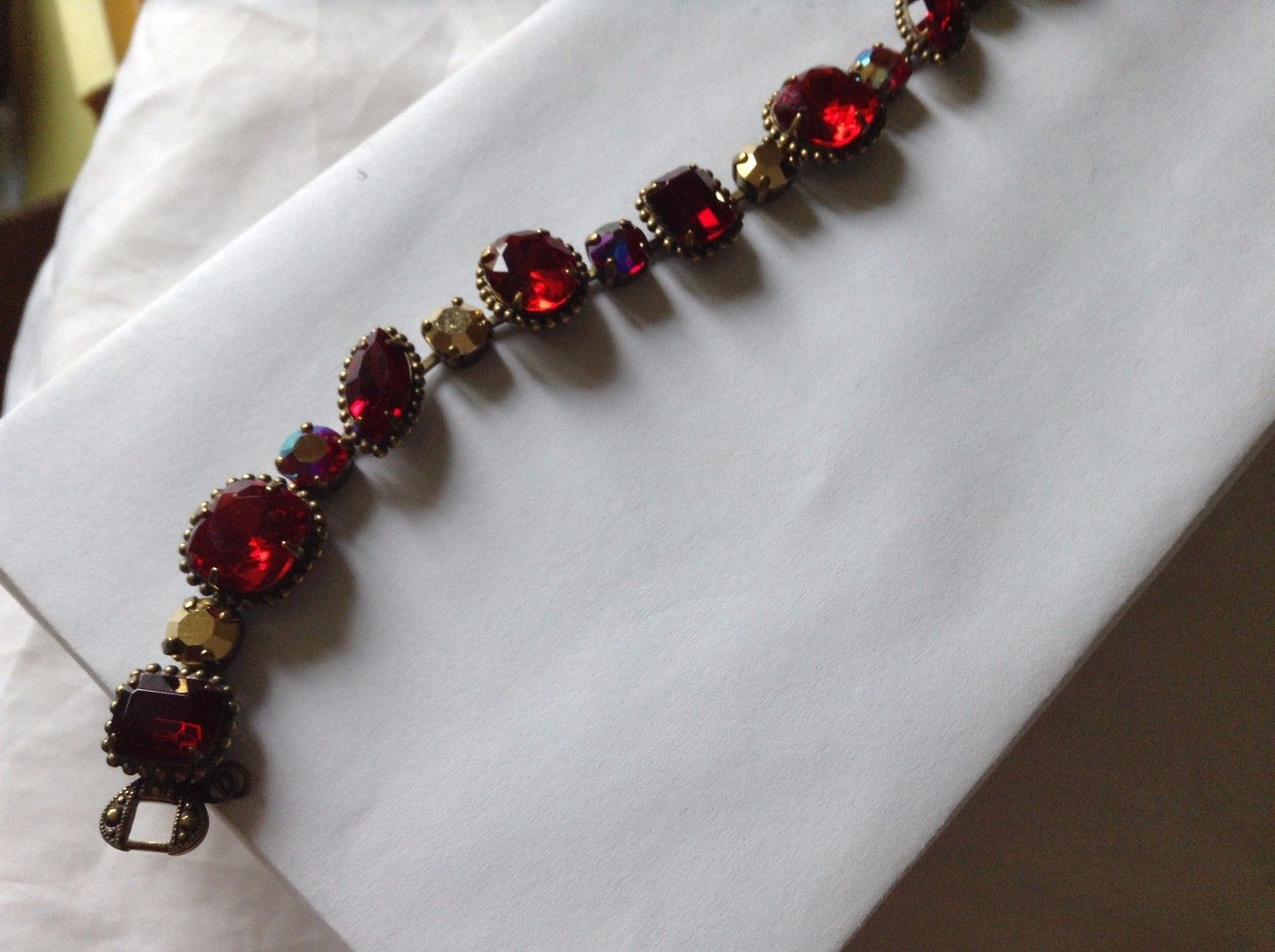 Ruby Red  austrian crystals Station Vintage Inspired Sorrelli Bracelet