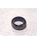 Round Patterned Black Wooden Hand Carved Ring Sizes 6.5, 7 OR 9 Sold Sep... - $29.69