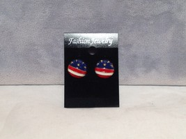 Round American Flag Design Stud Earring Perfect for July 4th Plastic Backing