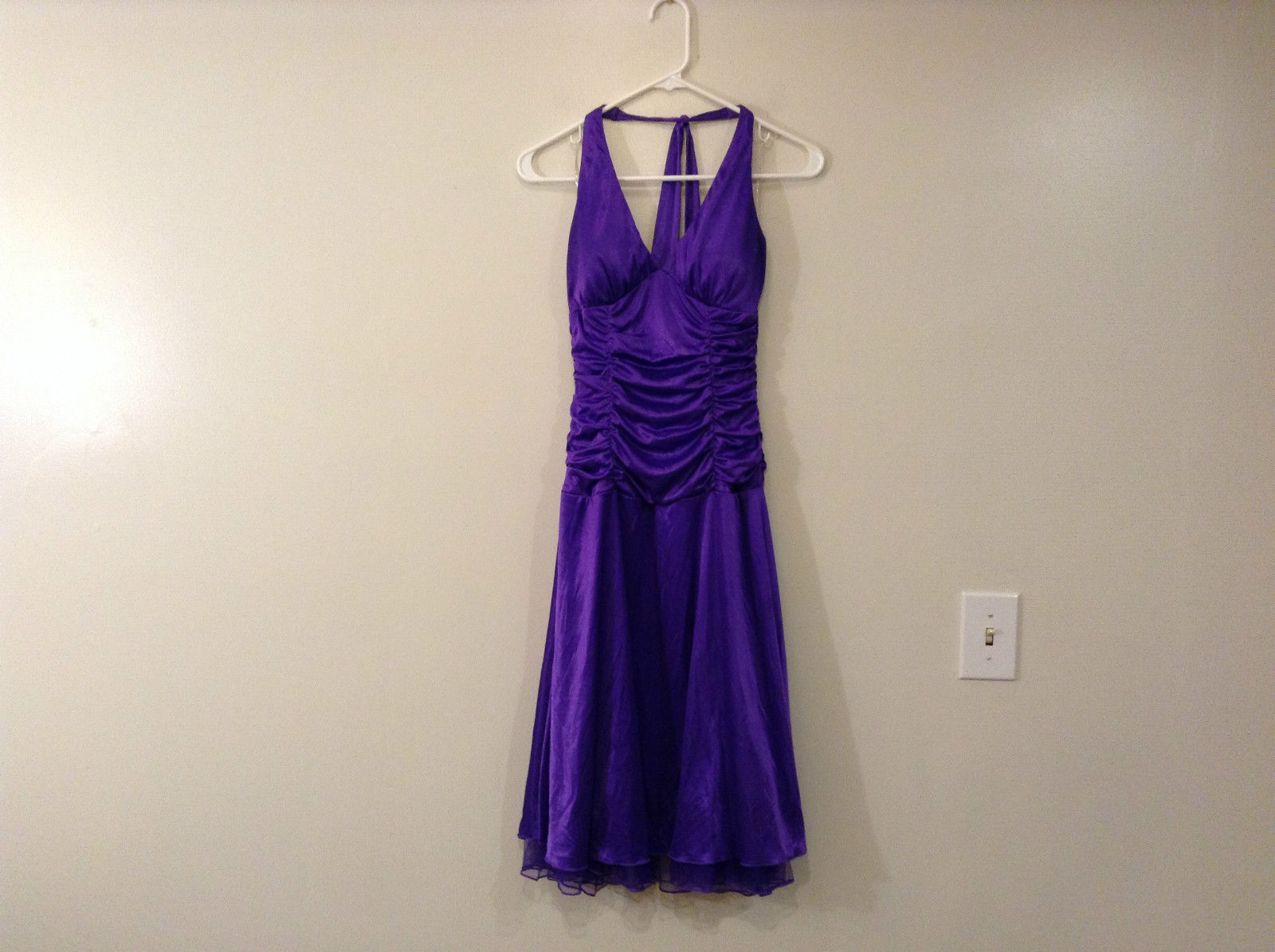 Ruby Rox Bright Violet Party Dress Halter Top Pleated Body Size Medium