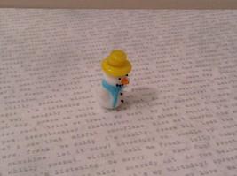 Micro miniature hand blown glass Snowman With Yellow Hat Christmas  USA NIB image 2