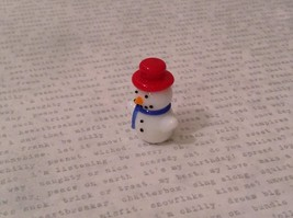 Micro miniature hand blown glass Snowman With Red Hat Christmas  USA NIB image 7