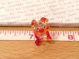 Micro miniature hand blown glass figurine  USA NIB clear pig w color accents image 6