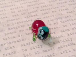Micro miniature hand blown glass figurine USA blue green w red shell turtle NIB image 3