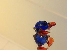 Micro miniature small hand blown glass blue crab w orange claws  USA made image 3