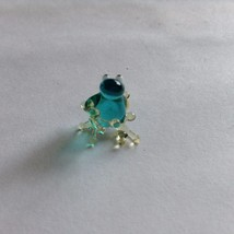 Micro miniature small hand blown glass figurine blue sitting lizard ?  USA NEW image 2