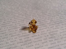 Micro miniature small hand blown glass figurine amber bear USA  NIB image 2