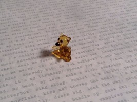 Micro miniature small hand blown glass figurine amber bear USA  NIB image 7