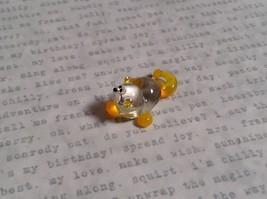 Micro miniature small hand blown glass figurine clear yellow cat USA  NIB image 5