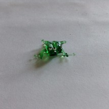 Micro miniature small hand blown glass figurine green frog white spots  USA  NIB image 2