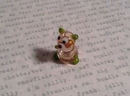 Micro miniature small hand blown glass figurine clear green bear USA  NIB image 2
