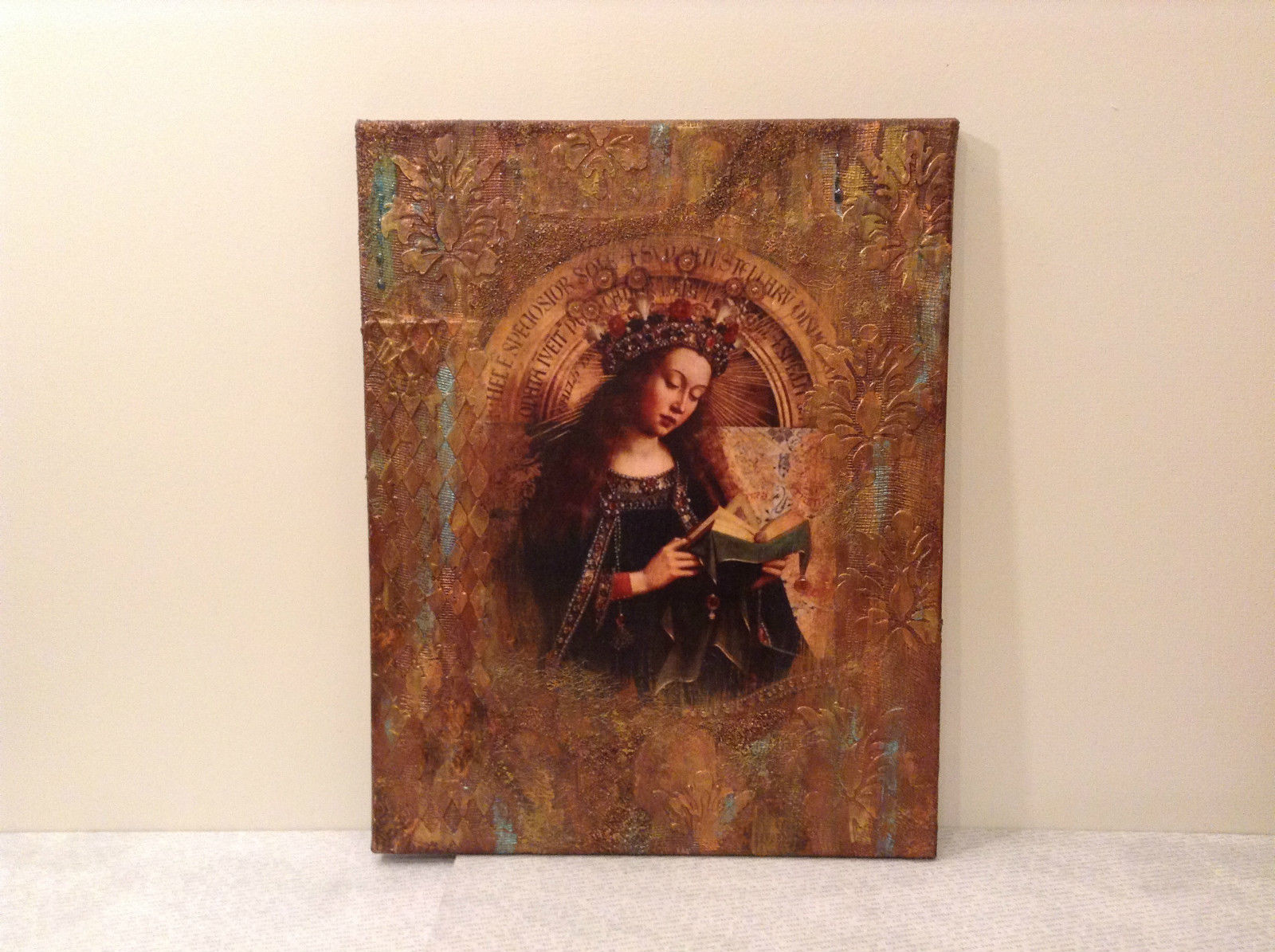 Russian Artist Handmade Canvas Religious Holy Virgin and Book Artist L Mironova