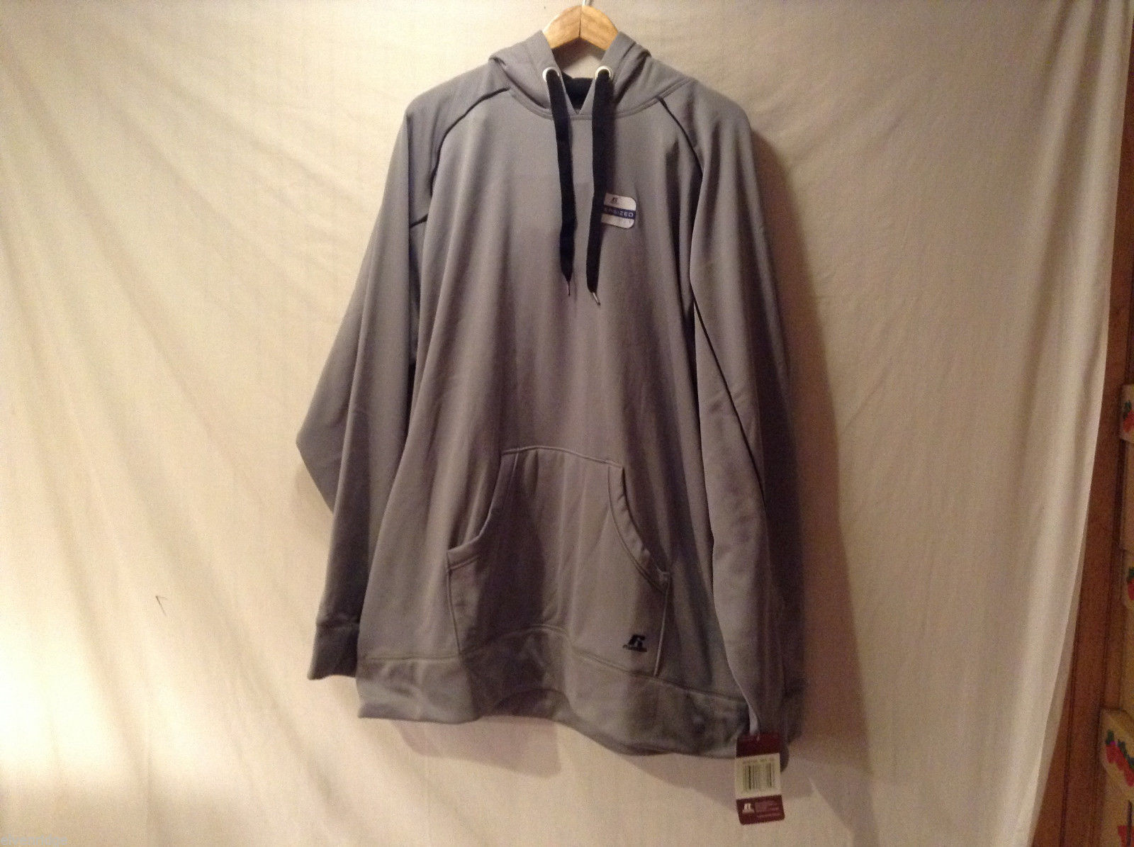 Russell Athletic Gray Hoodie Sweatshirt Front Pouch, Size XXL, Dry Power System