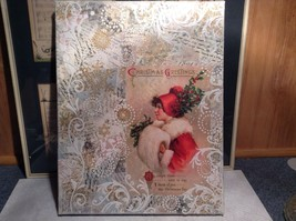 Russian Handmade 14x11 Mixed Media Christmas Collage Canvas, Christmas Greetings