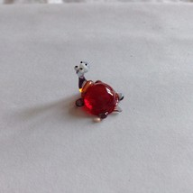 Micro miniature small hand blown glass figurine red backed turtle or hippo ? USA image 3
