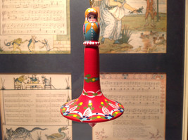 Russian Hand Painted Christmas Tree Ornament Red with Mini Doll Top Drodel Shape image 1