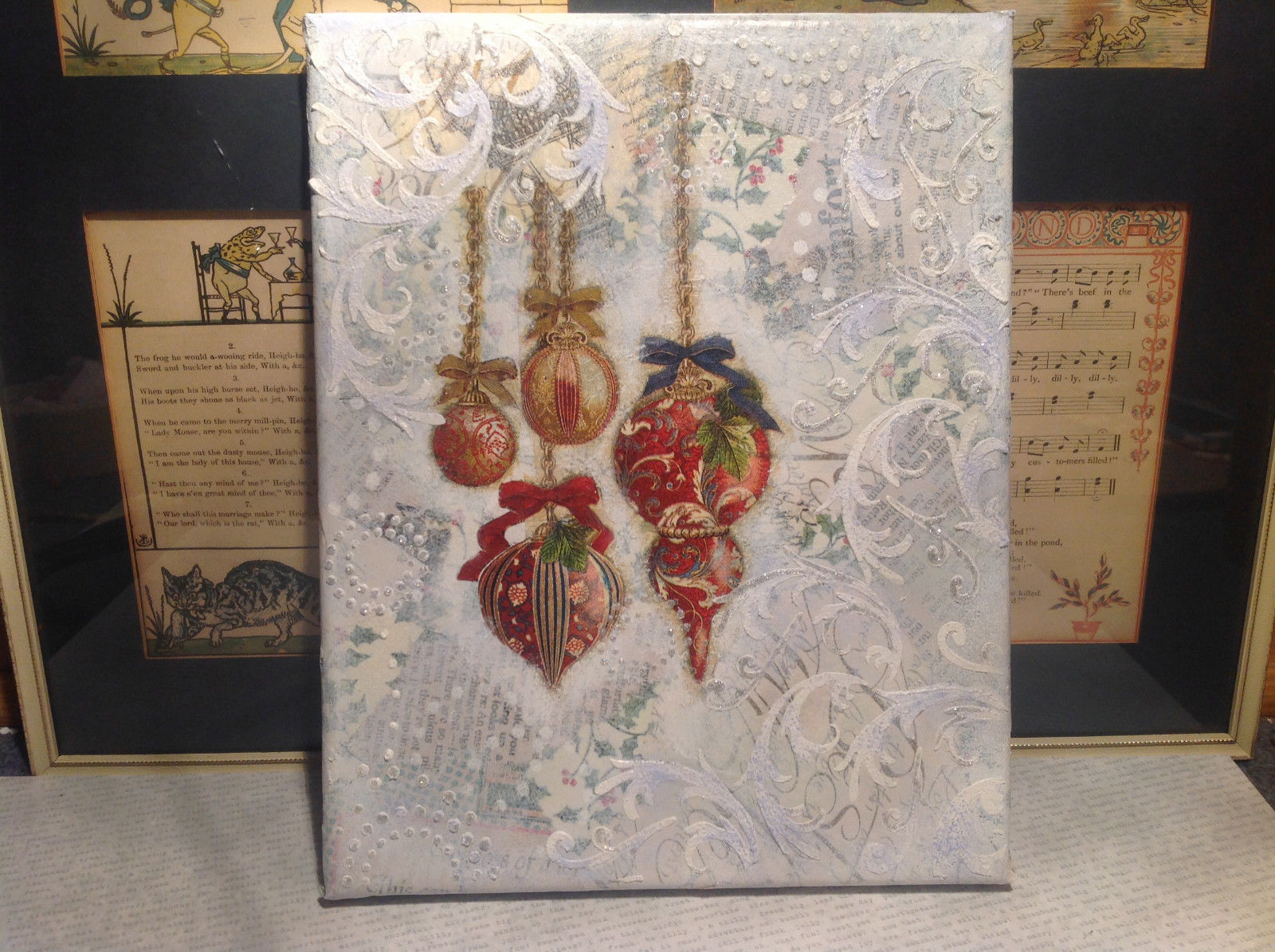 Russian Mixed media 3D collage Christmas ornaments in snow and ice signed