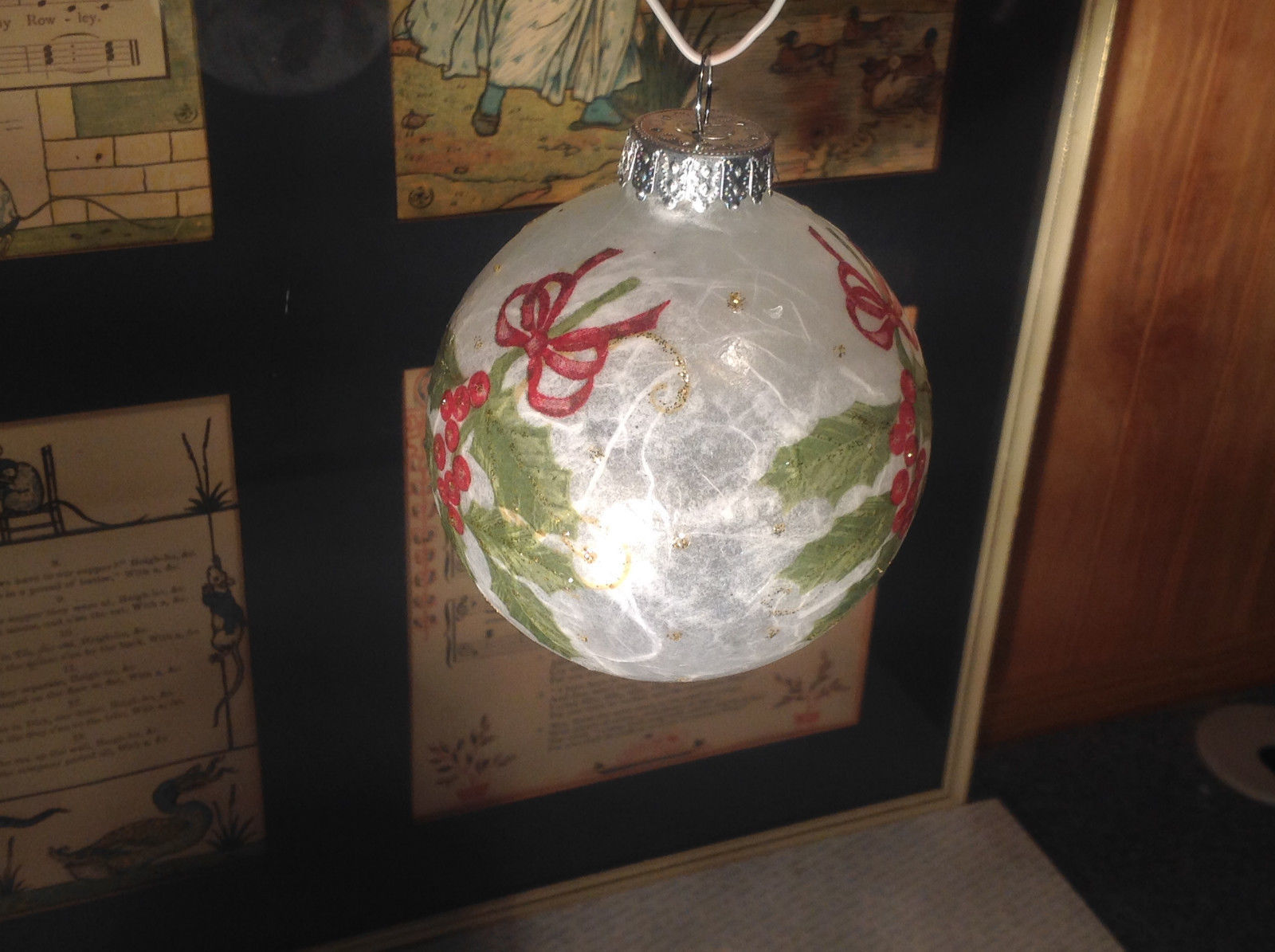 Russian artist signed - hand painted decorated GLASS ornament with holly