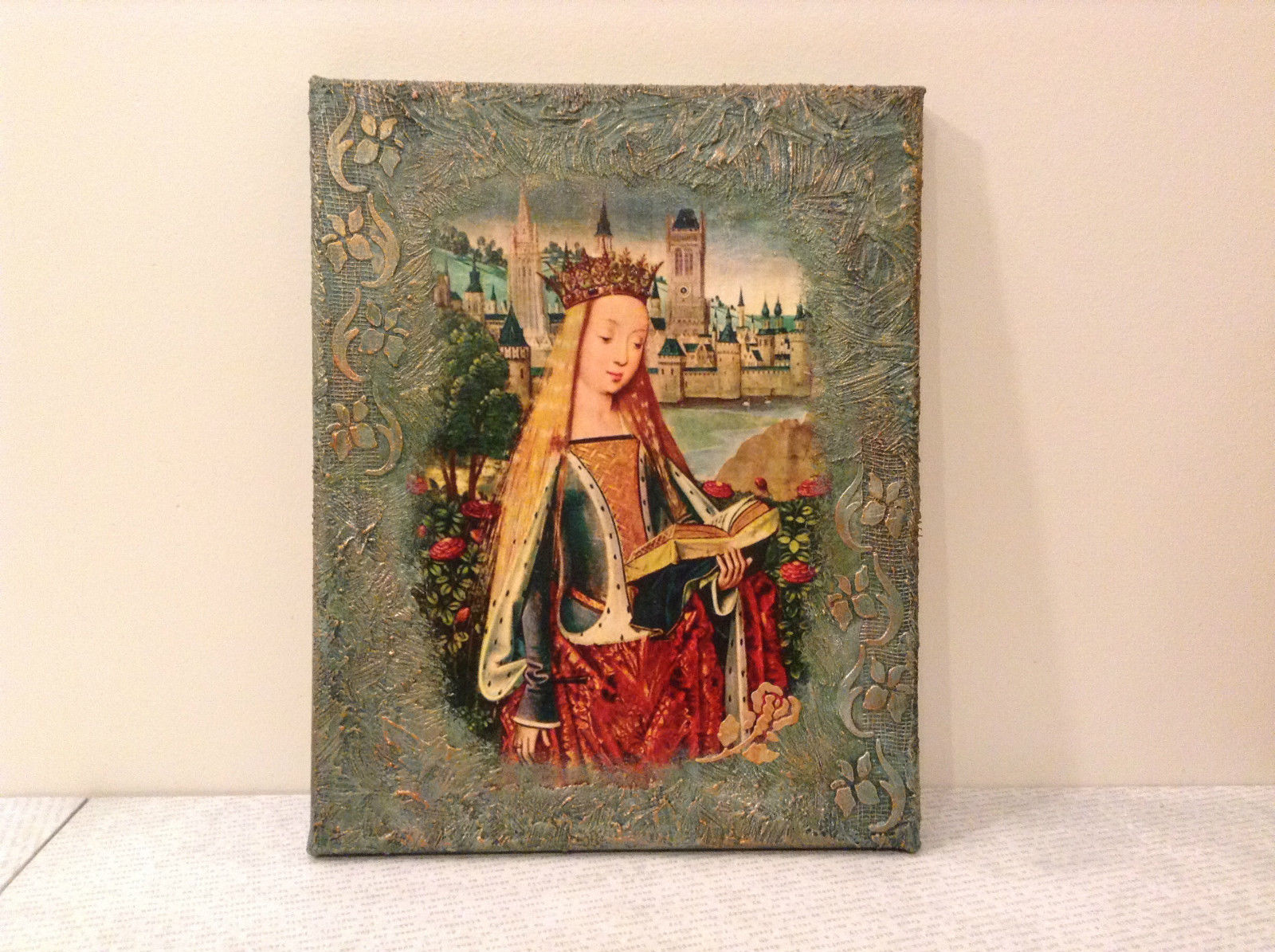 Russian Artist Handmade Religious Canvas Holy Virgin with Book Artist L Mironova