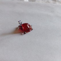 Micro miniature small hand blown glass figurine red backed turtle or hippo ? USA image 2