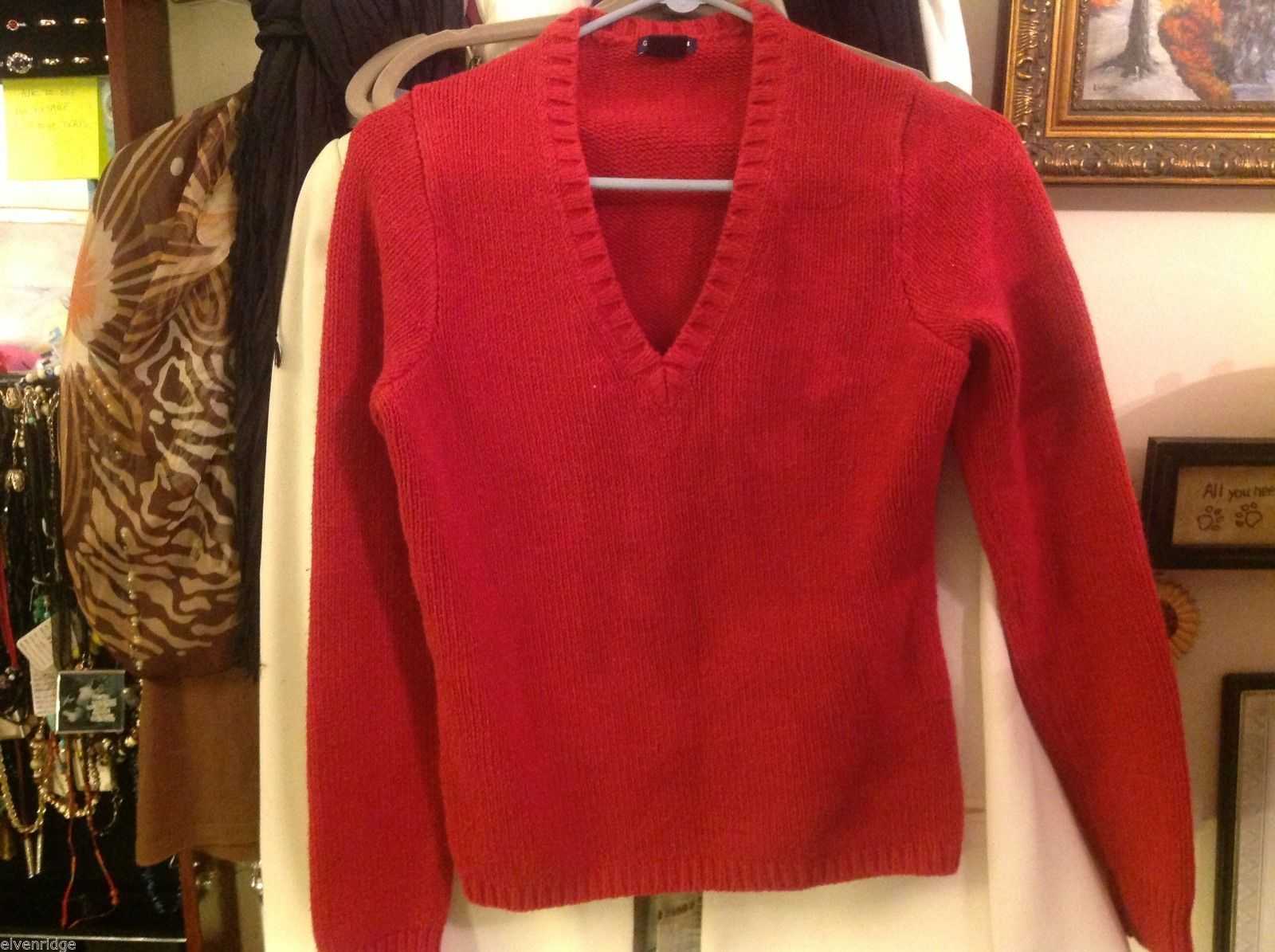 SMALL gap sweater stretch fit red cable knit V-neck