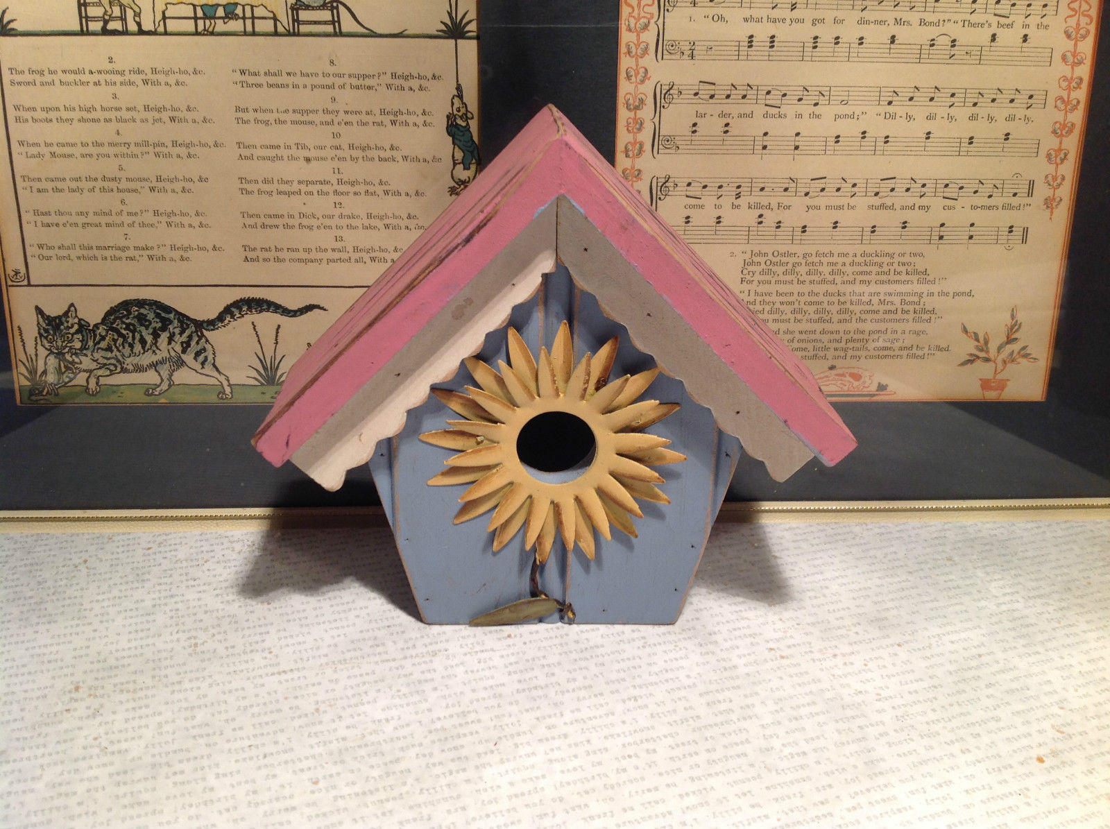 Rustic Pink and Blue Faux Bird House with Yellow Flower Wall Decoration