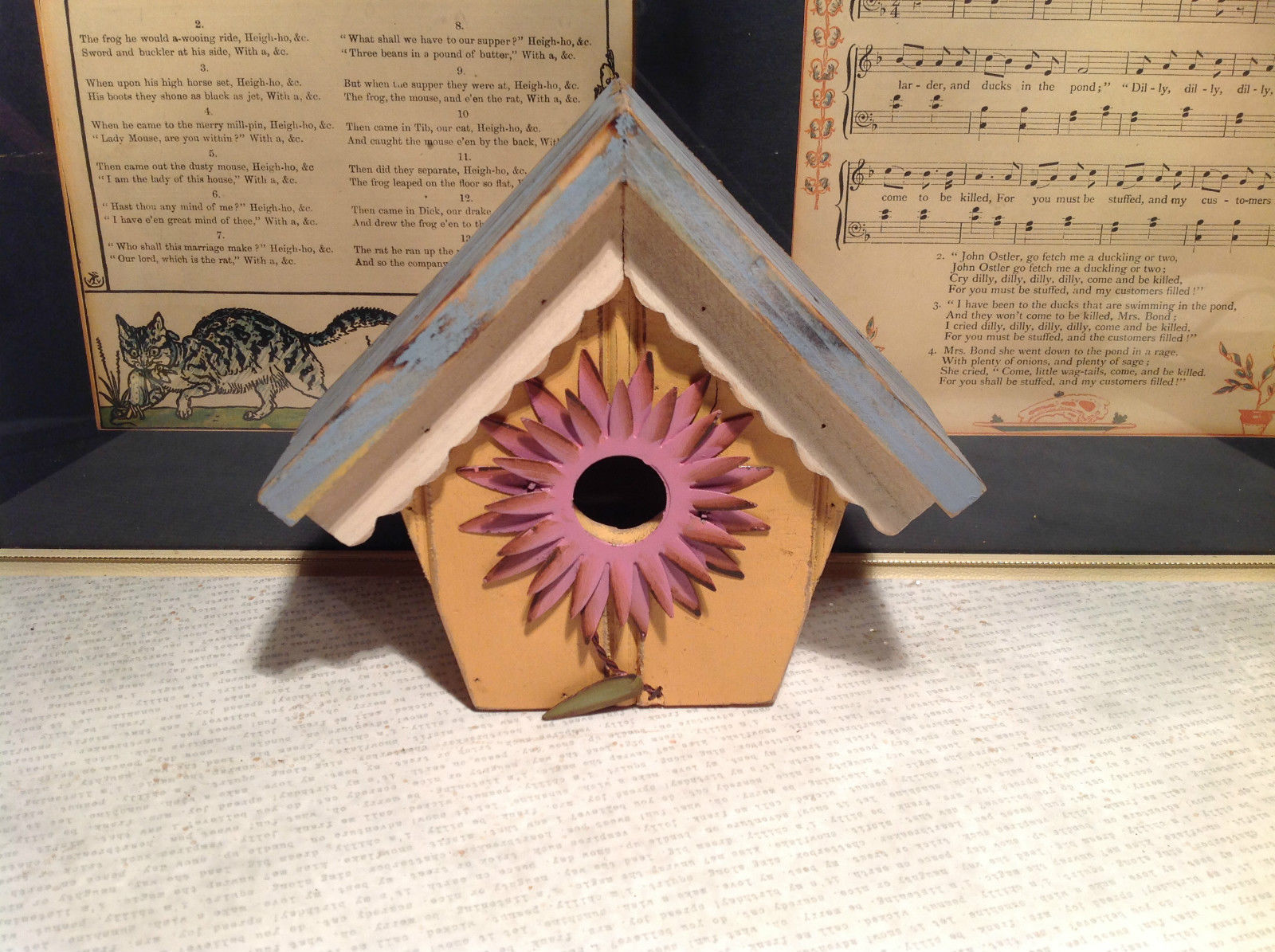 Rustic Blue and Beige Faux Bird House with Pink Flower Wall Decoration