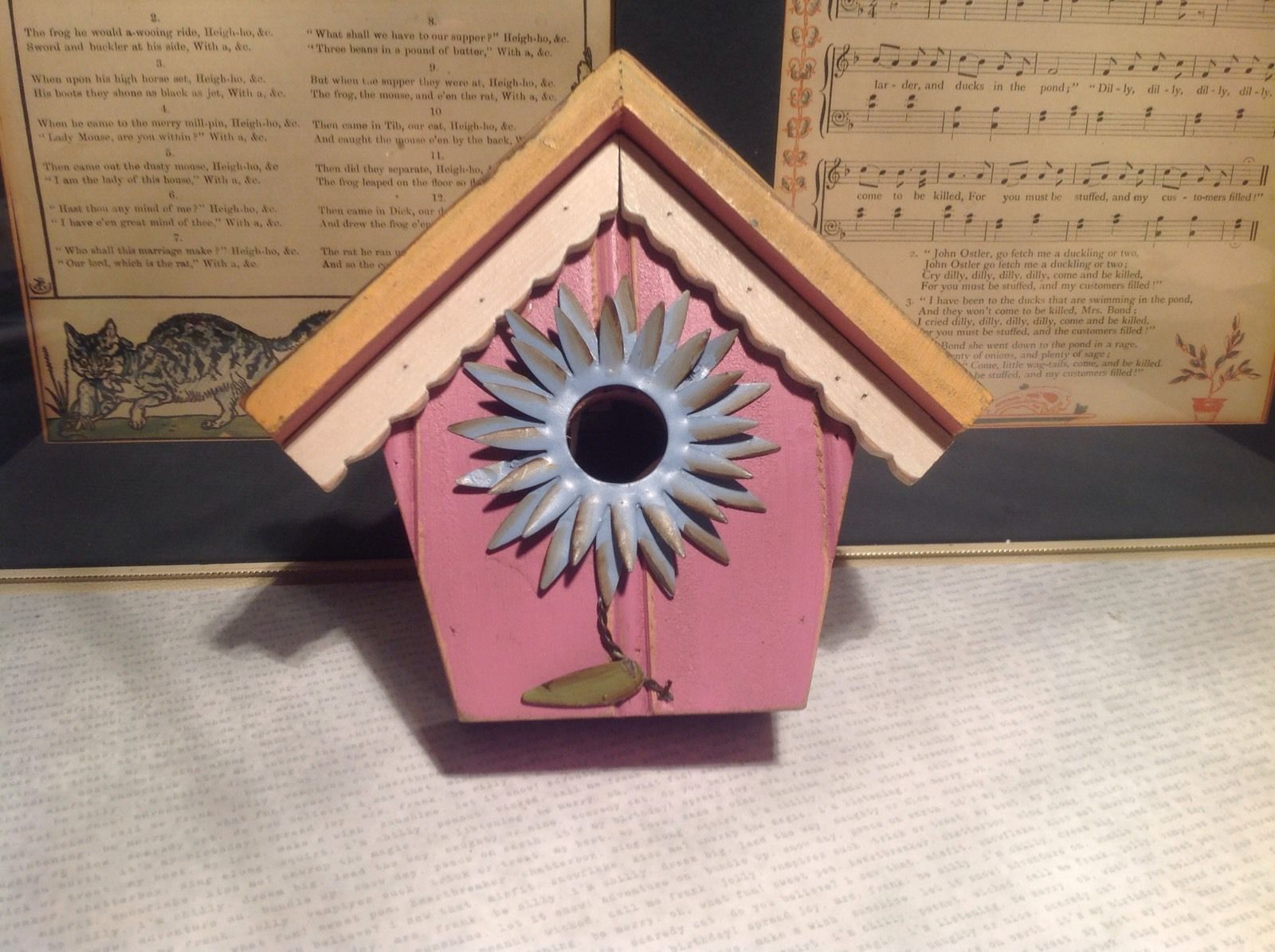 Rustic Wood Pink Birdhouse Wall Decoration With Blue Flower