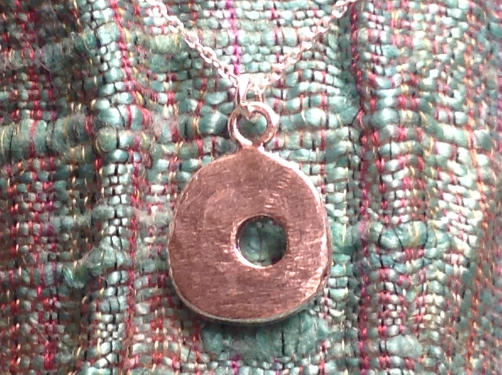 Rustic Textured Circle Ring Donut Sterling Silver Shiny Charm Pendant Necklace